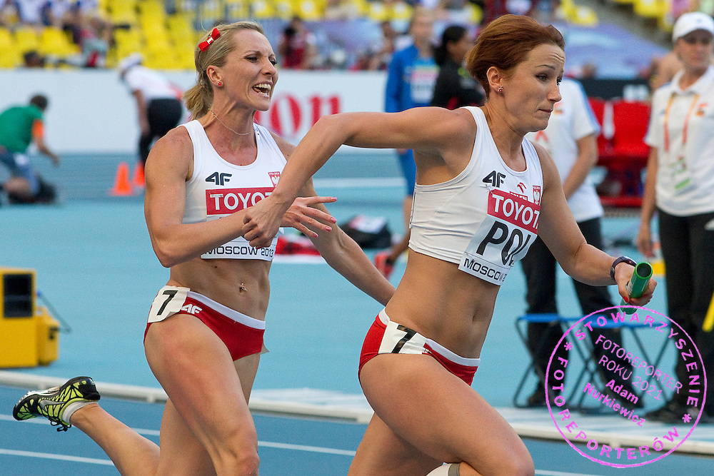 (L) Ewelina Ptak and (R) Marta Jesche both from Poland compete in women's relay 4x100 meters qualification during the 14th IAAF World Athletics Championships at the Luzhniki stadium in Moscow on August 18, 2013.<br /> <br /> Russian Federation, Moscow, August 18, 2013<br /> <br /> Picture also available in RAW (NEF) or TIFF format on special request.<br /> <br /> For editorial use only. Any commercial or promotional use requires permission.<br /> <br /> Mandatory credit:<br /> Photo by &copy; Adam Nurkiewicz / Mediasport