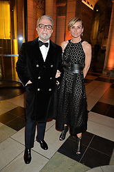 RAFFI & JO MANOUKIAN at the inaugural dinner for The Queen Elizabeth Scholarship Trust hosted by Viscount Linley at the V&A museum, London on 25th February 2016.