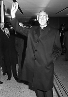 Most Rev Dr Dermot Ryan the Archbishop of Dublin leaving Ireland on a trip to South America, circa April 1983 (Part of the Independent Newspapers Ireland/NLI Collection).