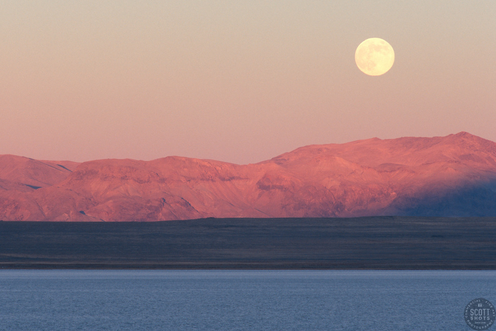 """Full Moon at Pyramid Lake, Nevada"" - This full moon was photographed at sunset at Pyramid Lake in Nevada."