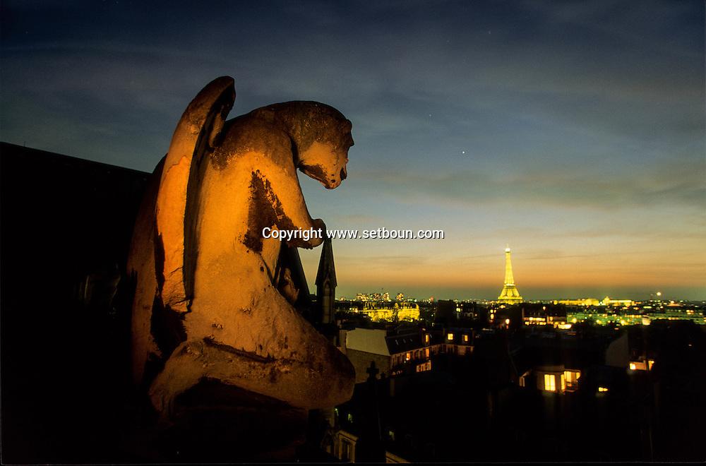 France. Paris.  elevated view on Paris. 7th district.   The gargoyles of. view Saint Clotilde chuch . the eiffel tower