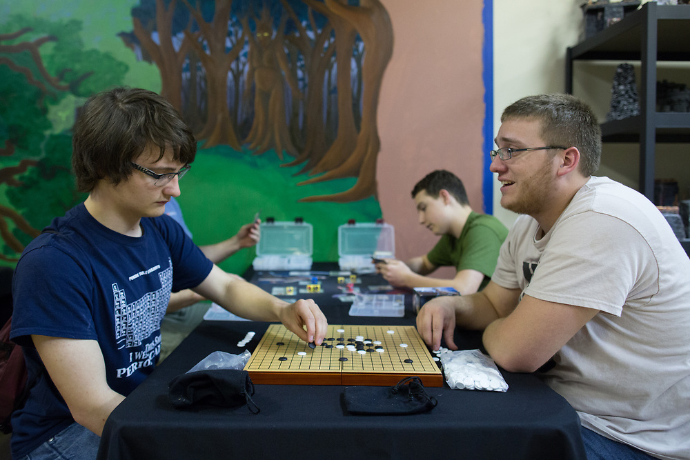 Evan Knowles, left, and Nate Yentzer play &quot;Go&quot; at Great Escape Adventures, a game store at Arnot Mall in Elmira, New York on Thursday, May 25, 2017. CREDIT: Mike Bradley for the Wall Street Journal<br /> RIPPLES