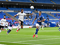 Football - 2019 / 2020 Championship - Play-off semi-final - 1st leg - Cardiff City vs Fulham<br /> <br /> Cyrus Christie of Fulham defends<br /> in a match played with no crowd due to Covid 19 coronavirus emergency regulations, in an almost empty ground, at the Cardiff City Stadium<br /> <br /> COLORSPORT/WINSTON BYNORTH