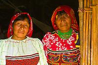 Kuna Indian women wearing native costume (with Mola embrodery blouse) in their hut, Crab Island (Carti Sugdup), San Blas Islands (Kuna Yala), Caribbean Sea, Panama