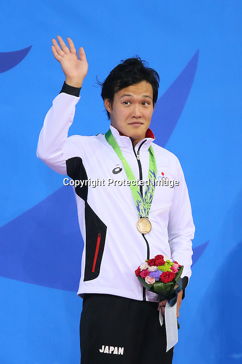 Hirofumi Ikebata (JPN), <br /> SEPTEMBER 24, 2014 - Swimming : <br /> Men's 100m Butterfly Medal Ceremony <br /> at Munhak Park Tae-hwan Aquatics Center <br /> during the 2014 Incheon Asian Games in Incheon, South Korea. <br /> (Photo by YUTAKA/AFLO SPORT)