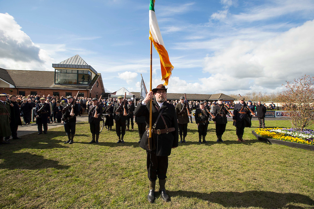 Horse Racing - Fairyhouse Easter Festival, Monday 28th March 2016<br /> The Fingal Old IRA Commemorative Society Re-enactment of 1916 at Fairyhouse Races<br /> Photo: David Mullen /www.cyberimages.net / 2016