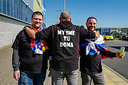 Slovakia fans arrive at the ground ahead of the UEFA European 2020 Qualifier match between Wales and Slovakia at the Cardiff City Stadium, Cardiff, Wales on 24 March 2019.