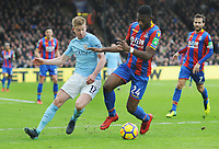 Football - 2017 / 2018 Premier League - Crystal Palace vs. Manchester City<br /> <br /> Timothy Fosu - Mensah of Palace and Kevin de Bruyne of City, at Selhurst Park.<br /> <br /> COLORSPORT/ANDREW COWIE