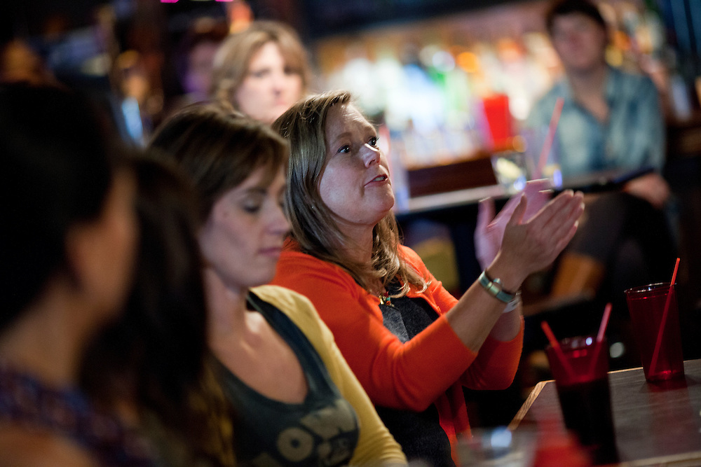 Amy Sundermann asks a question at a panel discussion on the role of the audience in art and the process of making work at the Mill restaurant in Iowa City, Iowa on Friday, November 6, 2015 during day one of the Witching Hour Festival.