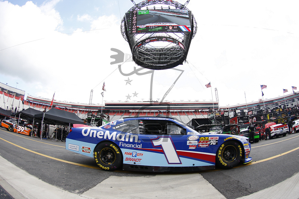 August 17, 2017 - Bristol, Tennessee, USA: Elliott Sadler (1) brings his car back to the garage during practice for the Food City 300 at Bristol Motor Speedway in Bristol, Tennessee.