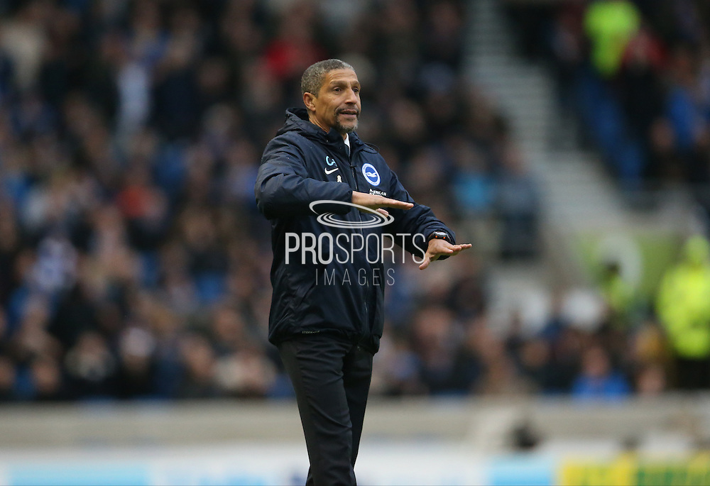 Brighton Manager, Chris Hughton during the Sky Bet Championship match between Brighton and Hove Albion and Birmingham City at the American Express Community Stadium, Brighton and Hove, England on 28 November 2015.