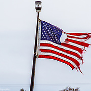 Old Glory On A Fishing Boat In Leland Michigan