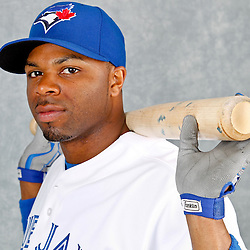 March 2, 2012; Dunedin, FL, USA; Toronto Blue Jays center fielder Rajai Davis (11) poses for a portrait during photo day at Florida Auto Exchange Stadium.  Mandatory Credit: Derick E. Hingle-US PRESSWIRE