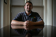 Matthew Clendennen poses for a portrait in Dallas, Texas on June 9, 2015. Clendennen was jailed in the aftermath of the Waco biker shootings, and is now pursuing legal action. (Cooper Neill for The New York Times)
