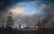 Battle of Texel August 21 1673: Nightly battle between Cornelis Tromp on the 'Gouden Leeuw' and Eward Spragg on the 'Royal Prince'. Date 1707 by Willem van de Velde II