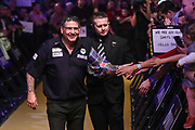 Gary Anderson walk on during the BWIN Grand Slam of Darts at Aldersley Leisure Village, Wolverhampton, United Kingdom on 18 November 2018.
