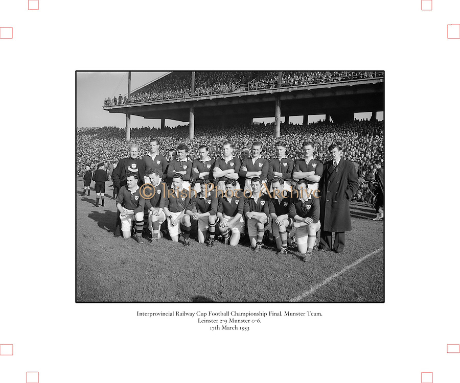 1953.155/2185-2186.17031953IPHCF.17.03.1953.17. March 1953.17. Mar 1953.Interprovincial Railway Cup Football Championship - Munster.Leinster 2-9   Munster 0-6..FOOTBALL- Wrong folder..................