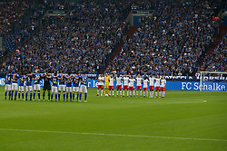 GELSENKIRCHEN, Aug. 20, 2017  Players and match officials observe a minute's silence in memory of the victims of Thursday's terrorist attacks in Spain before the German First division Bundesliga football match between FC Schalke 04 and RB Leipzig in Gelsenkirchen, Germany, on August 19, 2017. Schalke 04 won 2-0. (Credit Image: © Joachim Bywaletz/Xinhua via ZUMA Wire)
