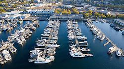 United States, Washington, Seattle.  Fishermen's Terminal (aerial view)