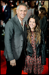 Gary Lineker and stepdaughter Ella arrive for The Hunger Games: Catching Fire premiere, Leicester Square, London, United Kingdom. Monday, 11th November 2013. Picture by Andrew Parsons / i-Images