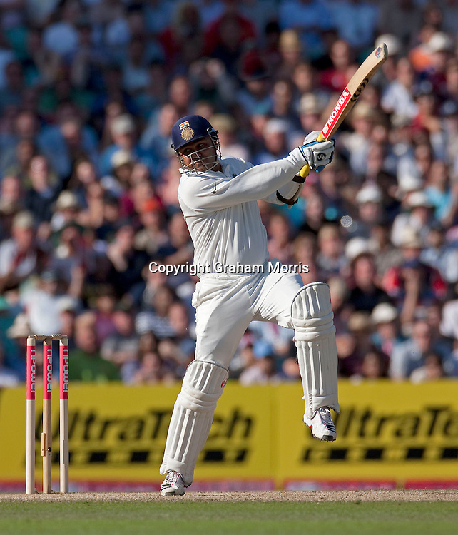 Virender Sehwag bats during the fourth and final npower Test Match between England and India at the Oval, London.  Photo: Graham Morris (Tel: +44(0)20 8969 4192 Email: sales@cricketpix.com) 21/08/11