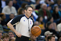April 10, 2011; Oakland, CA, USA;  NBA referee Scott Foster (48)before the game between the Golden State Warriors and the Sacramento Kings at Oracle Arena. Sacramento defeated Golden State 104-103.