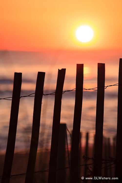 Sand fence silhouette at sunrise.