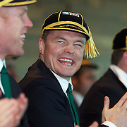 """Brian O""""Driscoll (centre) shares a joke with team mate Paul O""""Connell  (left) after the cap presentation and Civic welcome at Skyline.  Queenstown, New Zealand, 4th September 2011. Photo Tim Clayton.."""