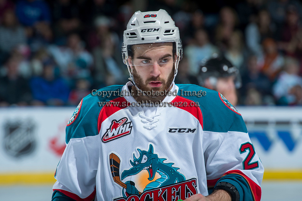 KELOWNA, CANADA - APRIL 30: Reid Gardiner #23 of the Kelowna Rockets skates against the Seattle Thunderbirds on April 30, 2017 at Prospera Place in Kelowna, British Columbia, Canada.  (Photo by Marissa Baecker/Shoot the Breeze)  *** Local Caption ***