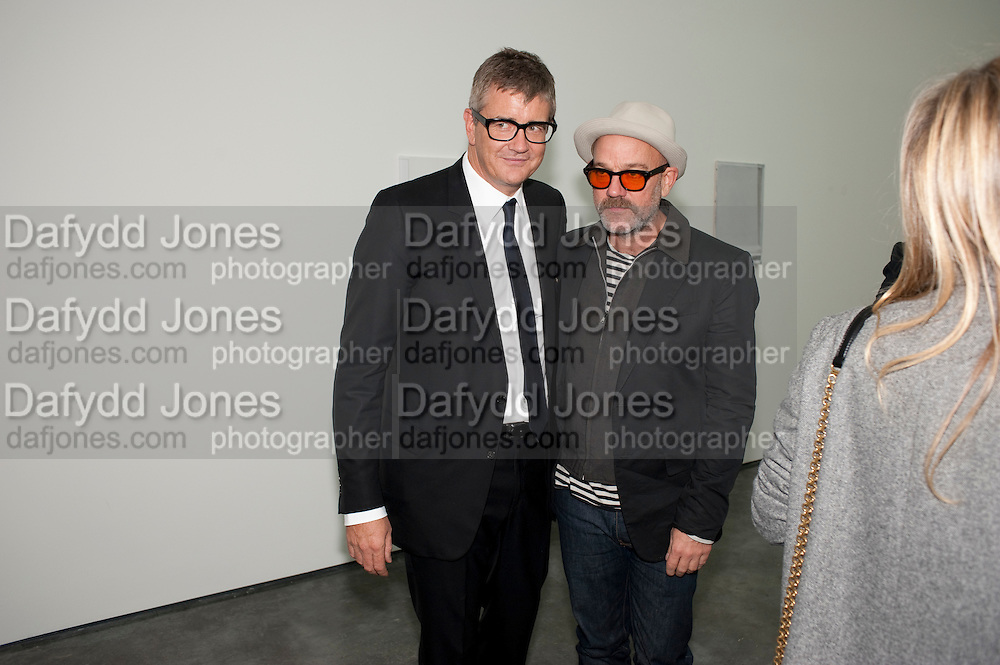JAY JOPLING; MICHAEL STIPE, Opening of new White Cube Gallery in Bermondsey. London. 11 October 2011. <br /> <br />  , -DO NOT ARCHIVE-© Copyright Photograph by Dafydd Jones. 248 Clapham Rd. London SW9 0PZ. Tel 0207 820 0771. www.dafjones.com.