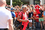 Manchester United Manager Jose Mourinho arrives at the stadium off the coach during the Manchester United and Liverpool International Champions Cup match at the Michigan Stadium, Ann Arbor, United States on 28 July 2018.