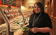 Julie Penrod at Genghis Grill, 2230 Edgewood Road SW, in Cedar Rapids on Thursday evening, March 1, 2012. Penrod is eating at Genghis Grill every evening for 60 days as a Health Kwest Khantestant. (Stephen Mally/Freelance)
