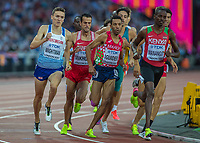 Athletics - 2017 IAAF London World Athletics Championships - Day Eight, Evening Session<br /> <br /> Mens 1500m Semi Final <br /> <br /> Jake Wightman(Great Britain) come around the outside of the field with one lap to go at the London Stadium<br /> <br /> COLORSPORT/DANIEL BEARHAM