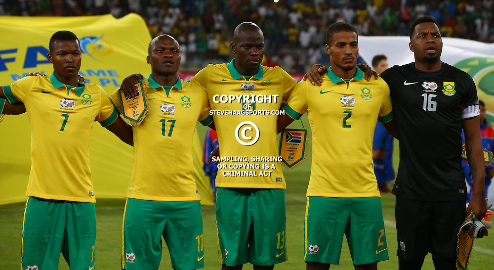 DURBAN, SOUTH AFRICA, 29,MARCH, 2016 - Bafana Bafana during the match between Bafana Bafana vs Cameroon at Moses Mabhida Stadium in Durban, South Africa. (Photo by Steve Haag)<br /> <br /> images for social media must have consent from Steve Haag