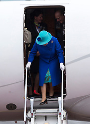 BERLIN-GERMANY- 23-JUNE-2015: Britain's  HM Queen Elizabeth II, accompanied by HRH The Duke of Edinburgh arrives at Tegel Airport, Berlin at the start of her State Visit to Germany.<br /> Photograph by Ian Jones