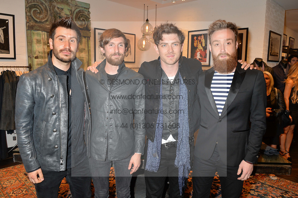 Left to right, BARRY McKENNA, CRAIG KNEALE, SAM McTRUSTY and ROSS McNAE  of Twin Atlantic at a party to celebrate the launch of the first European John Varvatos Store, 12-13 Conduit Street, London held on 3rd September 2014.