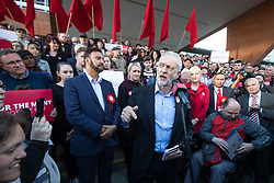 © Licensed to London News Pictures . 05/05/2017. Manchester, UK.  Labour Party Leader JEREMY CORBYN visits Manchester following Andy Burnham's victory in the Manchester Metro mayoralty campaign , for a Momentum Rally on the steps of the Manchester Convention Centre . Andy Burnham did not attend . Photo credit: Joel Goodman/LNP
