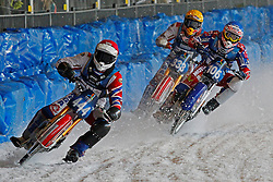 13.03.2016, Assen, BEL, FIM Eisspeedway Gladiators, Assen, im Bild Igor Kononov (RUS), Dimitry Koltakov (RUS), Daniil Ivanov (RUS) // during the Astana Expo FIM Ice Speedway Gladiators World Championship in Assen, Belgium on 2016/03/13. EXPA Pictures © 2016, PhotoCredit: EXPA/ Eibner-Pressefoto/ Stiefel<br /> <br /> *****ATTENTION - OUT of GER*****