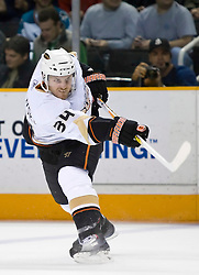 January 21, 2010; San Jose, CA, USA; Anaheim Ducks defenseman James Wisniewski (34) shoots against the San Jose Sharks during the first period at HP Pavilion.  San Jose defeated Anaheim 3-1. Mandatory Credit: Jason O. Watson / US PRESSWIRE