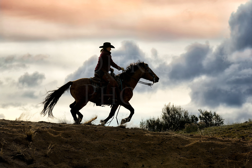 In the last light of day, a Colorado cowgirl rides the ridgeline at a gallop silhouetted against a cold cloudy sky carrying the coming snow.