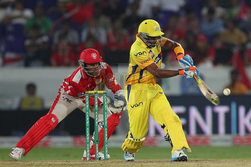 Dwayne BRAVO of the Chennai Superkings  during the second semi final match of the Oppo Champions League Twenty20 between the Kings XI Punjab and the Chennai Superkings held at the Rajiv Gandhi Cricket Stadium, Hyderabad, India on the 2nd October 2014<br /> <br /> Photo by:  Ron Gaunt / Sportzpics/ CLT20<br /> <br /> <br /> Image use is subject to the terms and conditions as laid out by the BCCI/ CLT20.  The terms and conditions can be downloaded here:<br /> <br /> http://sportzpics.photoshelter.com/gallery/CLT20-Image-Terms-and-Conditions-2014/G0000IfNJn535VPU/C0000QhhKadWcjYs