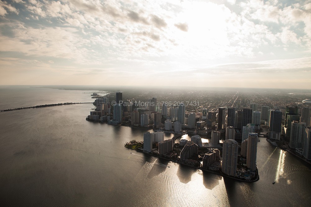 Aerial view of Brickell Avenue and Brickell Key looking southwest near sunset.