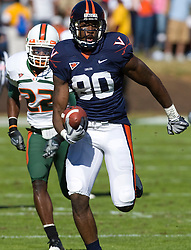Virginia wide receiver Maurice Covington (80) runs up field after a pass reception against Miami.  The Virginia Cavaliers faced the Miami Hurricanes in a NCAA football game at Scott Stadium on the Grounds of the University of Virginia in Charlottesville, VA on November 1, 2008.Miami defeated Virginia 24-17 in overtime.