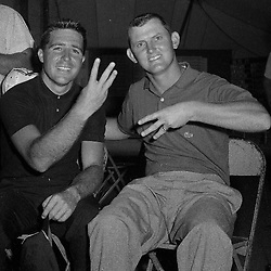Golfers Gary Player and Jacky Cupit tied for the lead at the 59th at the Western Open, on June 29, 1962.