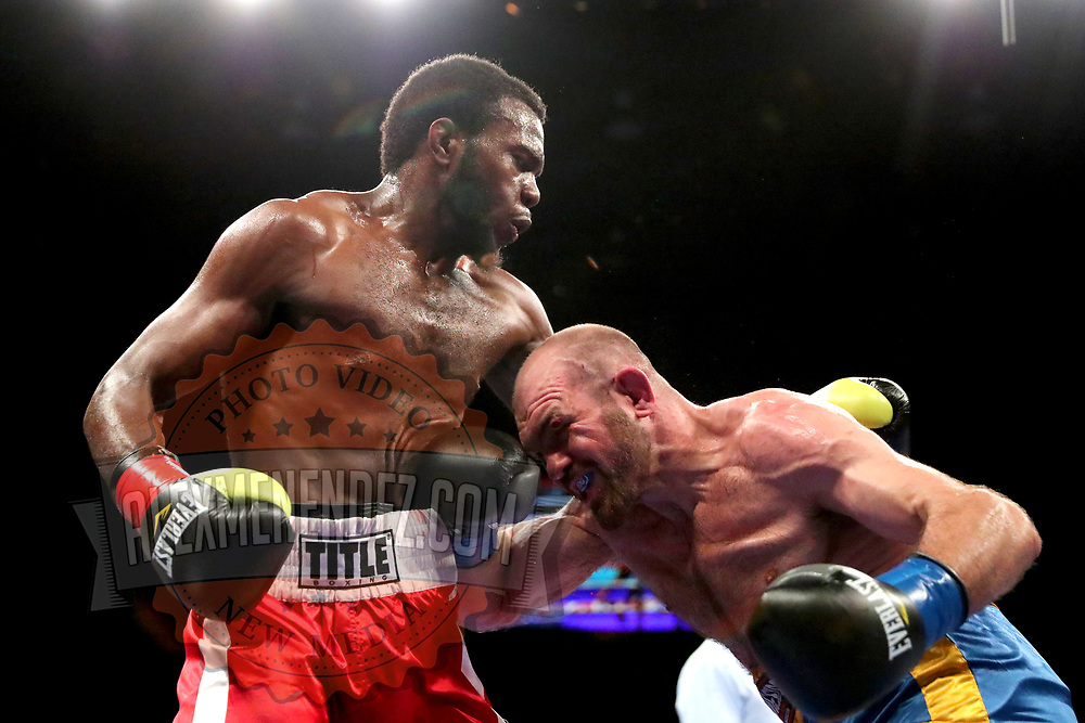 VERONA, NY - JUNE 08: Armus Guyton (L)  fights Mike Diorio during the Golden Boy on ESPN fight night at Turning Stone Resort Casino on June 8, 2018 in Verona, New York. (Photo by Alex Menendez/Getty Images) *** Local Caption *** Armus Guyton; Mike Diorio