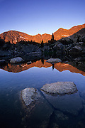 Morning alpenglow on mountains, Missouri Lakes Basin, Holy Cross Wilderness, White River National Forest, Colorado