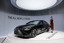 New Lexus LS 500h hybrid electric saloon car at 87th Geneva International Motor Show in Geneva Switzerland 2017