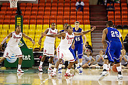 November 26th, 2010:  Anchorage, Alaska - St. John's senior guard Dwight Hardy (12) on defense in the Red Storm's semi final game of the Great Alaska Shootout against the Drake Bulldogs.  The Red Storm defense held Drake to a tournament low score as St. Johns advanced to the final game 82-39.
