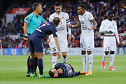 Giovani Lo Celso (PSG) on the floor needed care for it head, Julien FERET (SM Caen), Emmanuel IMOROU (SM Caen), Vincent BESSAT (SM Caen), Lucas Rodrigues Moura da Silva (psg), referee during the French Championship Ligue 1 football match between Paris Saint-Germain and SM Caen on May 20, 2017 at Parc des Princes stadium in Paris, France - Photo Stephane Allaman / ProSportsImages / DPPI