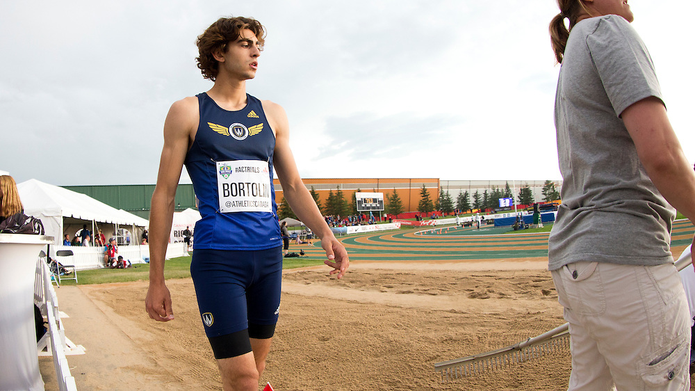 Angelo Bortolin competes in the junior mens triple jump event at the 2016 Canadian Track and Field Championships in Edmonton, Alberta on July 8, 2016.